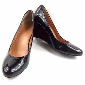 J Crew Black Sylvia Patent Leather Wedges 8.5